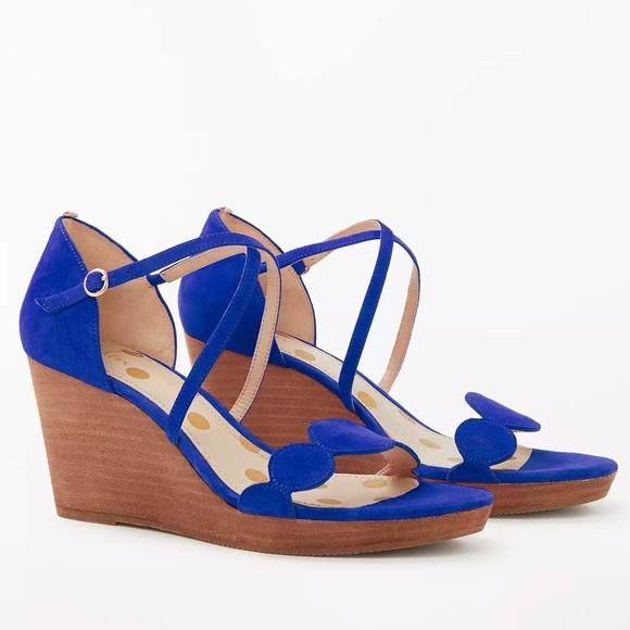 NWOT Boden Bethany Wedge Heel Sandals Blue Suede